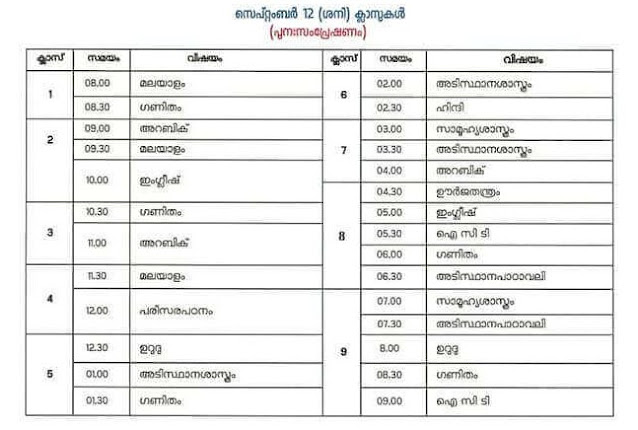 online class study time table malayalam