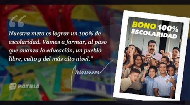 Inició la asignación Bono 100% Escolaridad octubre 2020 mediante plataforma Patria
