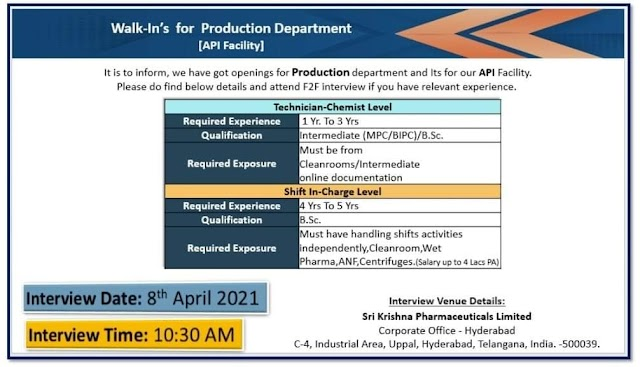 Sri Krishna Pharma | Walk-in interview for Production on 8th April 2021