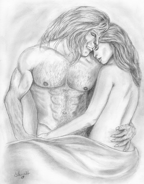 Vincent and Catherine naked in bed, important bits tastefully covered with a sheet, his chest muscled and fuzzy, her back bare and her head on his left shoulder, as she cuddles up to him, because wouldn't you be cuddled up close to him? Hmm? LOL