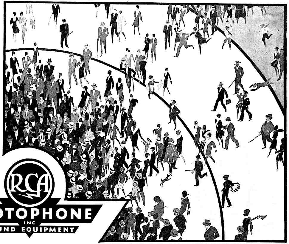 a 1929 advertisement illustration for RCA Vistaphone sound equipment, a crowd being attracted