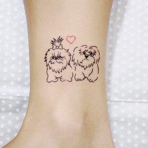 Couple Dog Tattoos on leg