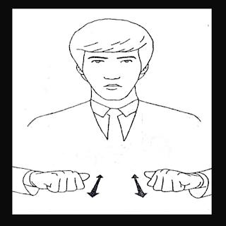 As duas maos em A, simulando sinal de servo