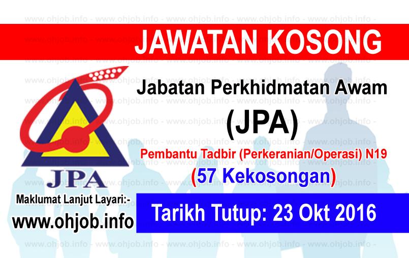 Jawatan Kerja Kosong Jabatan Perkhidmatan Awam Malaysia (JPA) logo www.ohjob.info oktober 2016