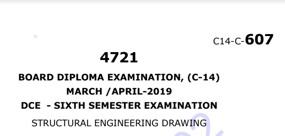 Diploma Structural Engineering Drawing Previous Question Paper c14 Civil March/April-2019