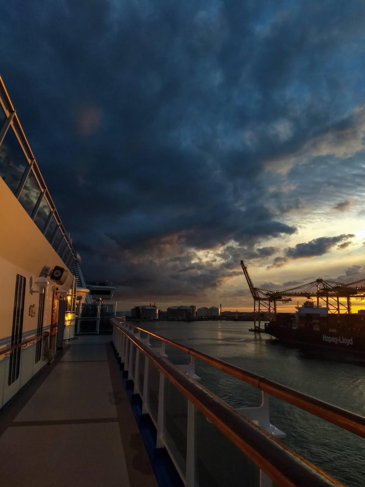 Autumn sunset light on a docked cruise ship.