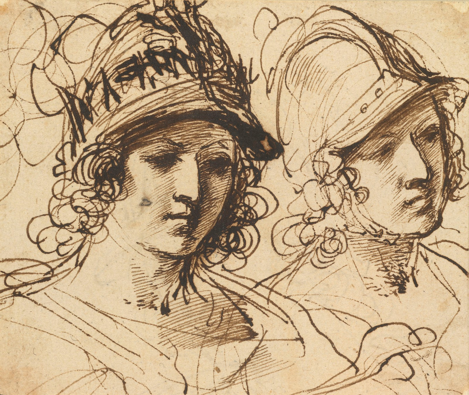 Guercino alexander the great two studies ca 1620 40 drawing royal collection windsor