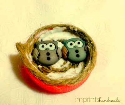 buttons craft + DIY owl nest magnet for refridgerator