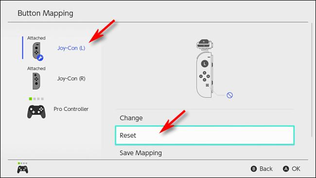 حدد إعادة تعيين لإعادة تعيين تعيين الأزرار على Nintendo Switch