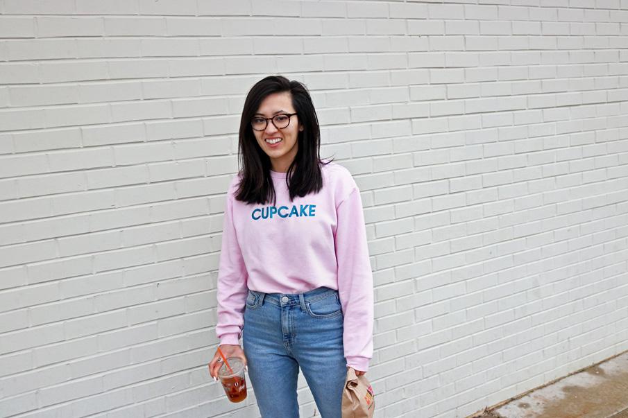 cupcake slogan pink sweatshirt