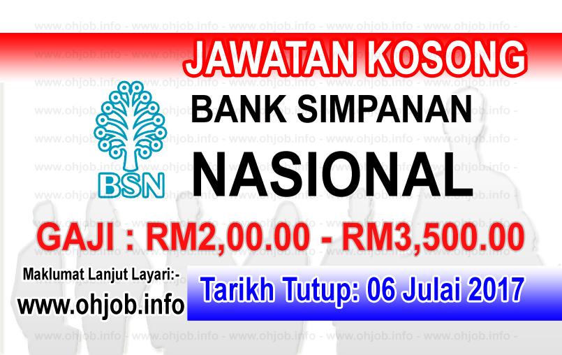 Jawatan Kerja Kosong Bank Simpanan Nasional - BSN logo www.ohjob.info julai 2017