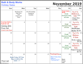 Life Inside The Page Bath Body Works Calendar Of Sales 2019 Try It To Believe It And Email Exclusives Sales Update