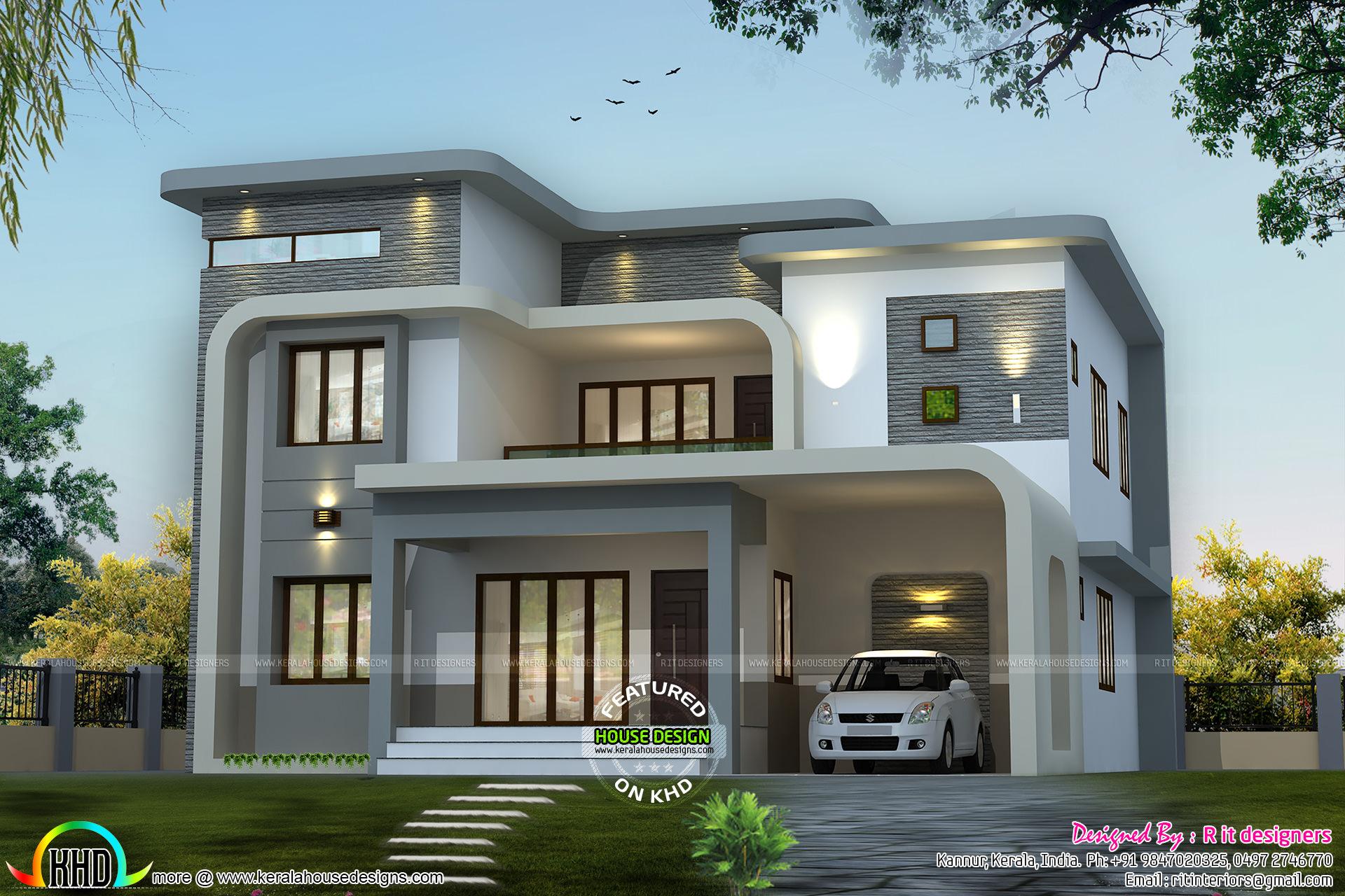 Unique flowing home design  Kerala home design and floor