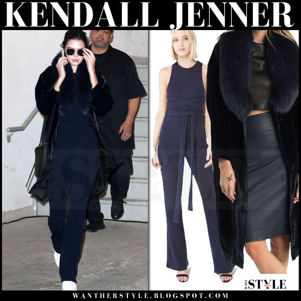 Kendall Jenner in blue fur collar theperfext coat and blue lavish alice jumpsuit what she wore