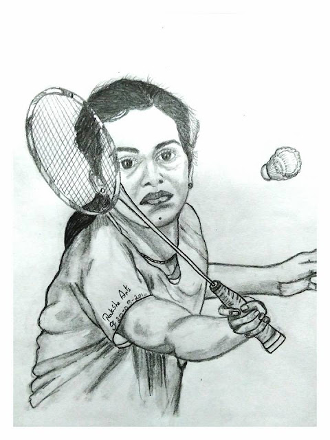 PENCIL DRAWING -  P. V. Sindhu