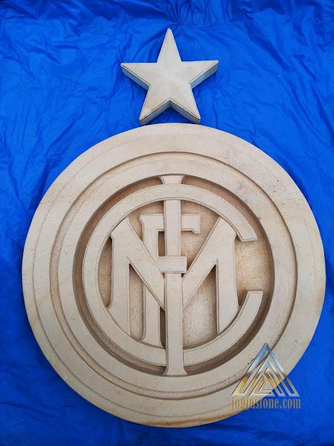 ornamen batu alam paras jogja, batu paras putih yogyakarta Logo club sepak bola Inter Milan