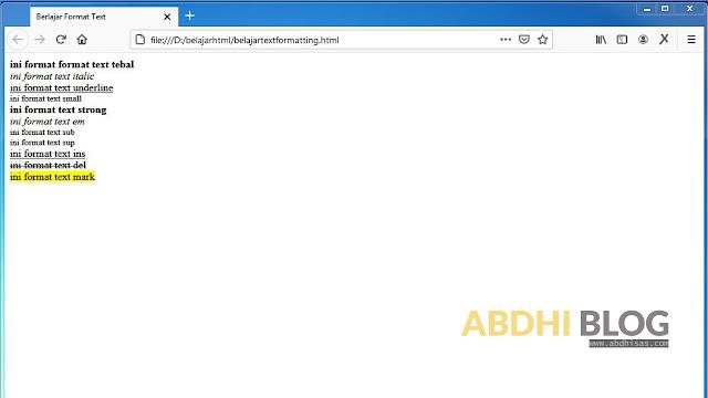 Format Text Pada HTML - Belajar HTML Dasar 6