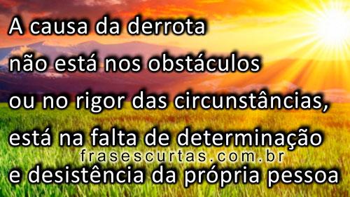 A causa da derrota, não está nos obstáculos, ou no rigor das circunstâncias, está na falta de determinação e desistência da própria pessoa
