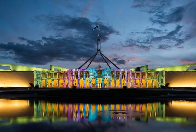 Enlighten Festival, Parliament House, Canberra, ACT © Martin Ollman  Enlighten Festival, Parliament House, Canberra, Australia Capital Territory © Martin Ollman