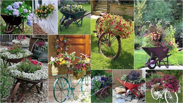 Διαμορφώσεις εξωτερικών χώρων με παλιά Ποδήλατα  και Καρότσια κήπου