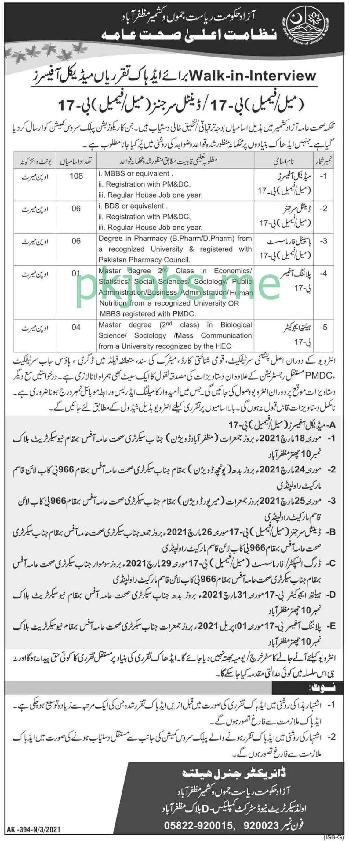 Latest Health Department AJK Medical Posts 2021