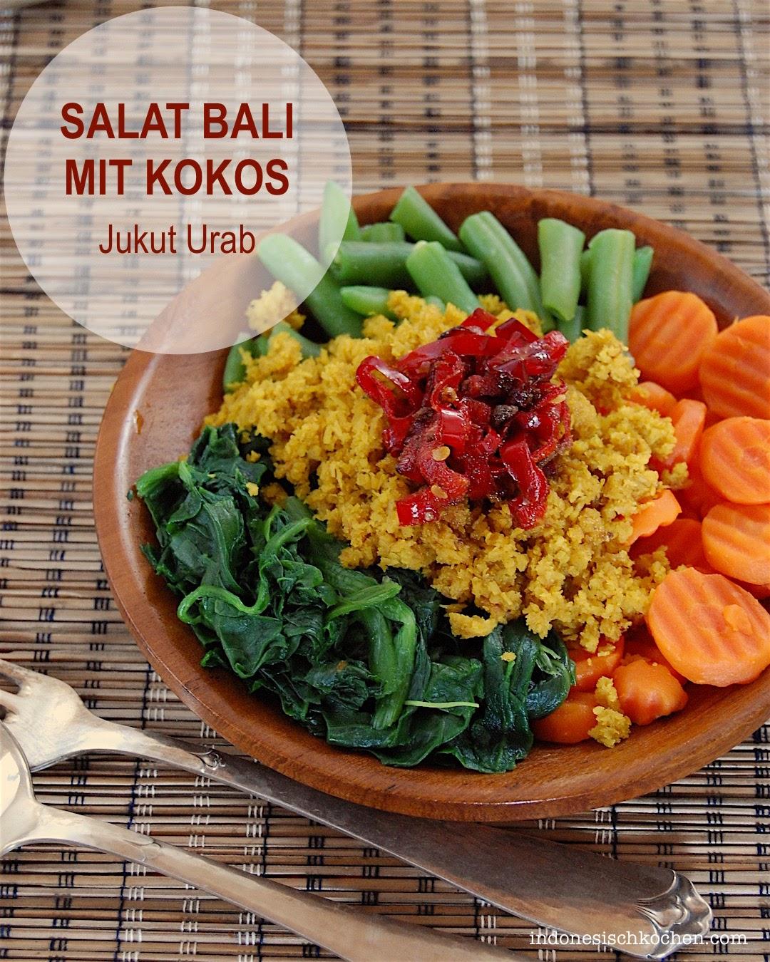 Salat Balinesisch mit Kokos indonesisch kochen