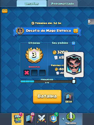 Desafio do Mago Elétrico Clash Royale