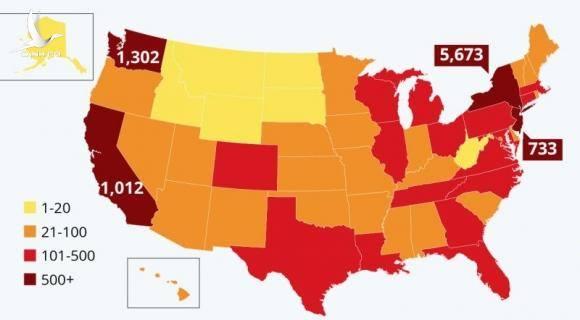 Mỹ tăng kỷ lục, đứng thứ 3 thế giới về số người nhiễm virus corona Vũ Hán