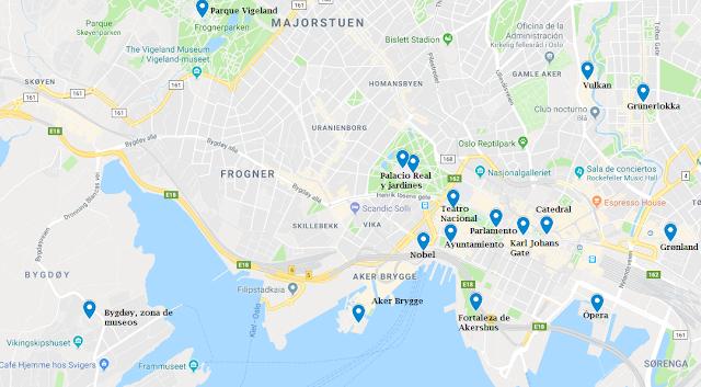 mapa lugares de interés Oslo