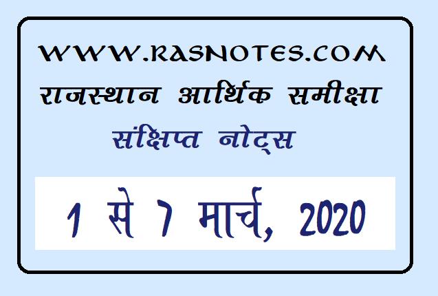 Rajasthan Economic Review Short Notes in Hindi