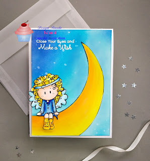 CIC, Bugaboo stamps, Digital stamp, Copic markers, Ink blending, distress oxide ink, distress inks, Bugaboo angel sitting digi stamp card, angel card, curly hair copic coloring, moon card, quillish