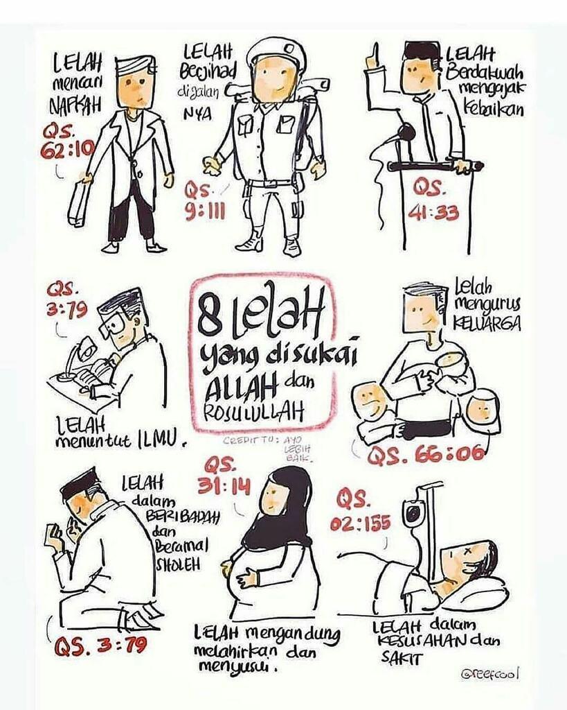 8 jenis lelah yang disukai allah dan rasulullah