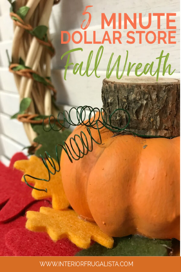 Turn inexpensive dollar store finds into an adorable small DIY Fall Pumpkin Wreath and it's so quick and easy to make in five minutes or less. #diyfallwreath #pumpkincraft