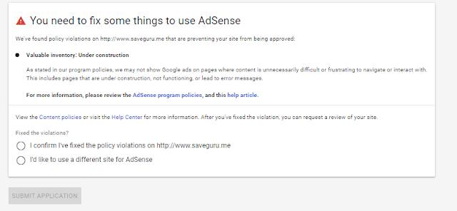 Perhatikan Hal Ini ! Jika Ditolak Google Adsense