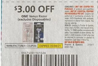 "$3.00/1 Venus Razor Coupon Coupon from ""P&G"" insert week of 4/11/21.  AND"