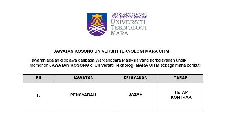 Jawatan Kosong Pensyarah di Universiti Teknologi MARA UiTM