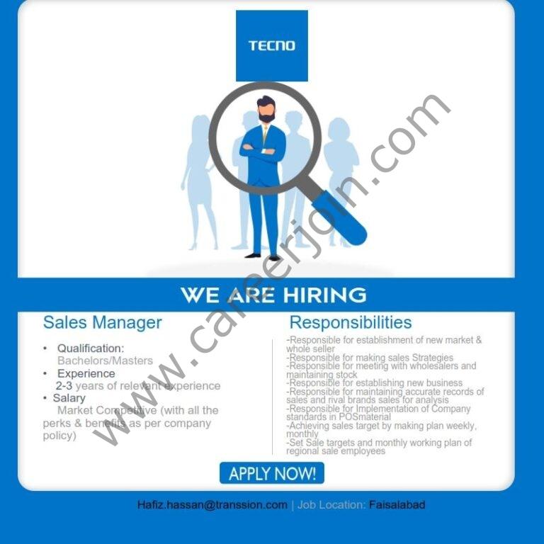 Tecno Mobile Pakistan Jobs 2021 in Pakistan
