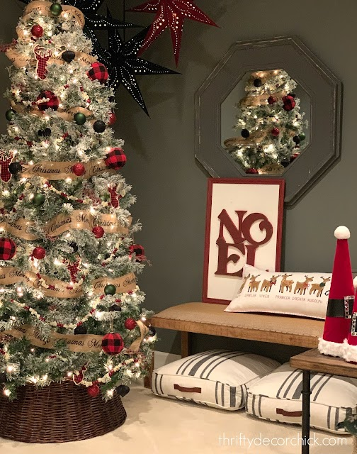 black green and red ornaments on tree