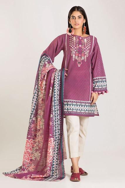 khaadi winter designs karandi pink dress