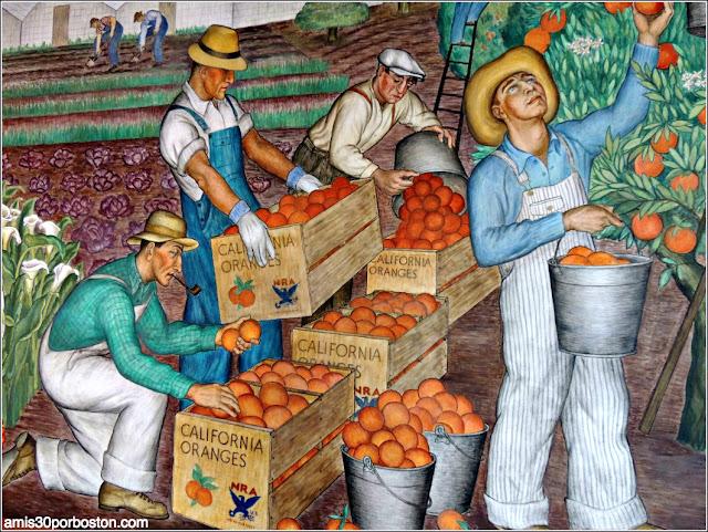 """Mural """"California Agriculture"""" de Maxine Albro en la Torre Coit de San Francisco"""