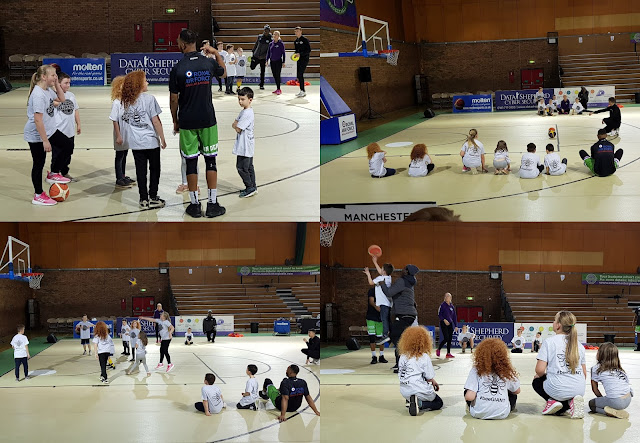 Manchester Giants Basketball Party Review players training with the children