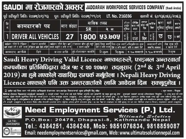 Jobs in Saudi Arabia for Nepali, Salary Rs 53,705