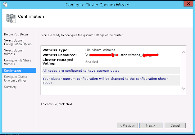 Quorum Configuration - Confirmation Wizard