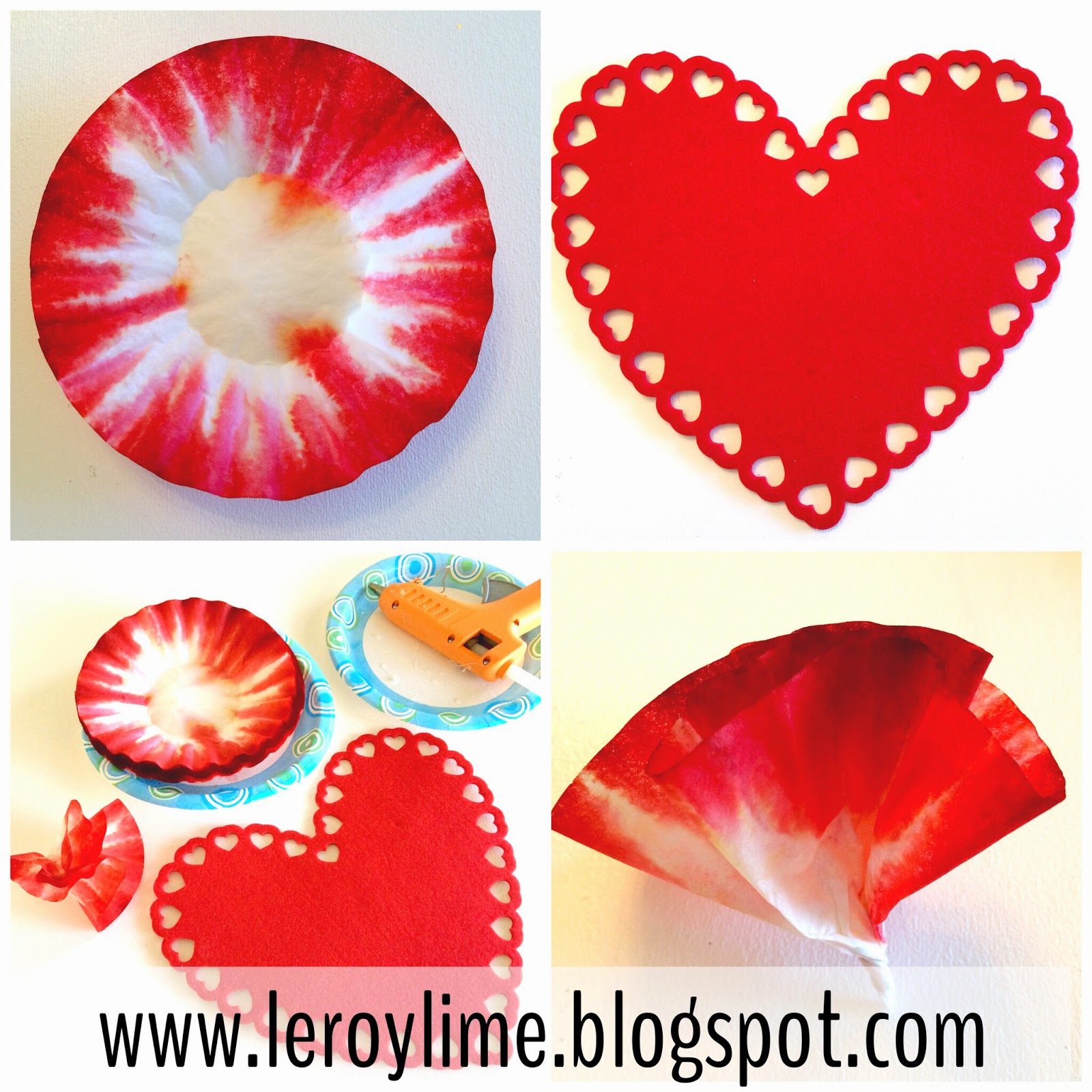 3-D Coffee Filter Heart Valentine Decor