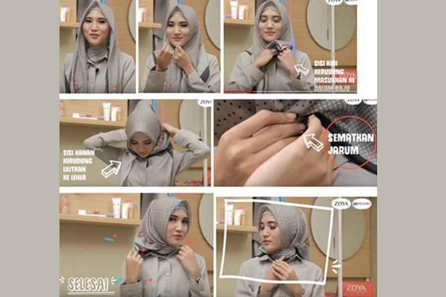 Tutorial Cara Memakai Hijab Segi Empat Ala Penjabat