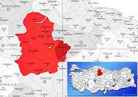 Mecitözü ilçesinin nerede olduğunu gösteren harita