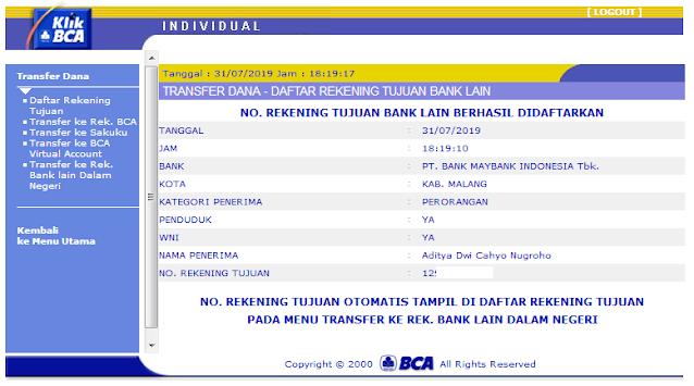 Cara Menambah Daftar Rekening Tujuan di KlikBCA / Internet Banking BCA - Halaman Rekening Tujuan Bank Lain Berhasil Didaftarkan (KlikBCA)