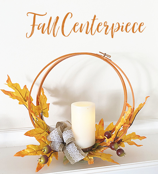 fall centerpiece with overlay