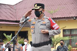 Kapolres Aceh Timur Pimpin Apel Gelar Pasukan Operasi Patuh Seulawah Tahun 2021