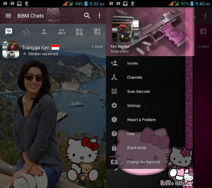 BBM Change Background with Hello Kitty (Light Style) v3.2.0.6 Apk Terbaru